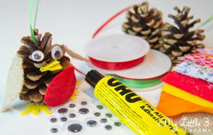 manualidades faciles para niños, materiales necesarios para decorar piñas