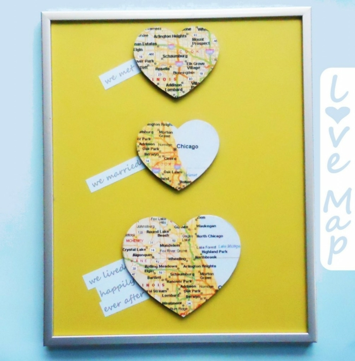 manualidades con cartulina, mapa de amor con corazones mapas de importantes recuerdos
