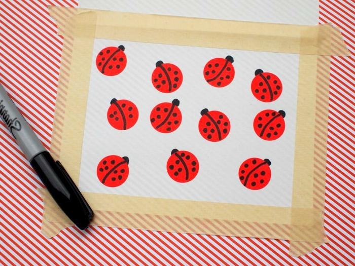manualidades faciles de hacer, dibujos de mariquitas, marcador negro