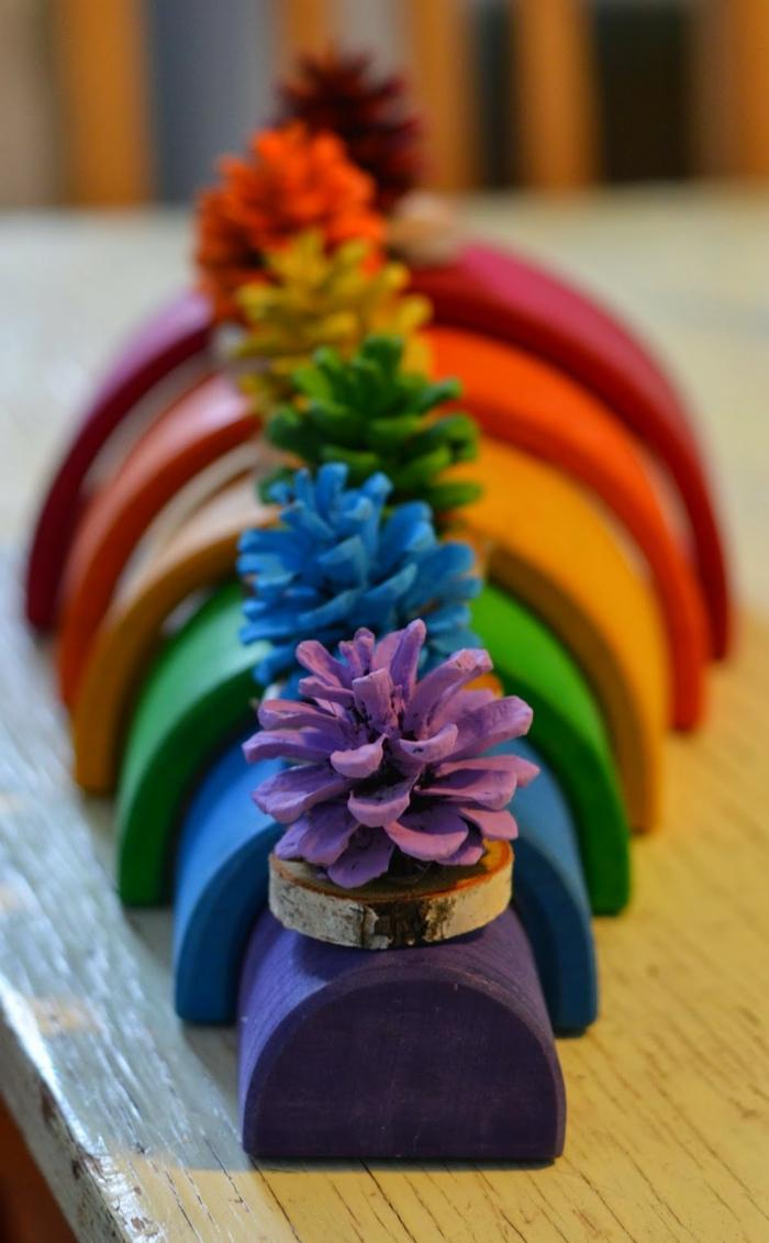 manudalidades faciles para niños, arco iris decorativo, piñas en colores