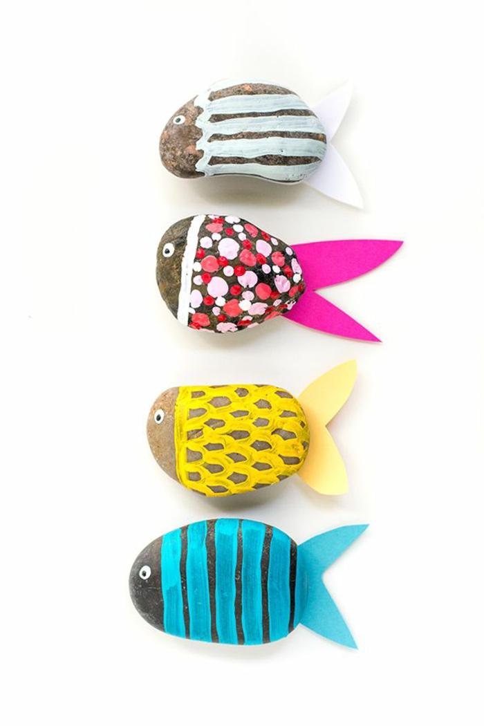 manualidades fáciles para niños, piedras decorativas, pinturas de agua