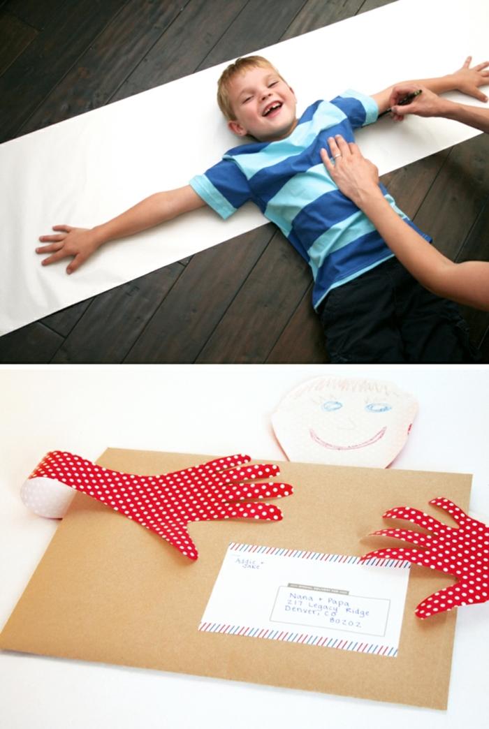 manualidades paso a paso, carta con decoración abrazo, niño con blusa azul