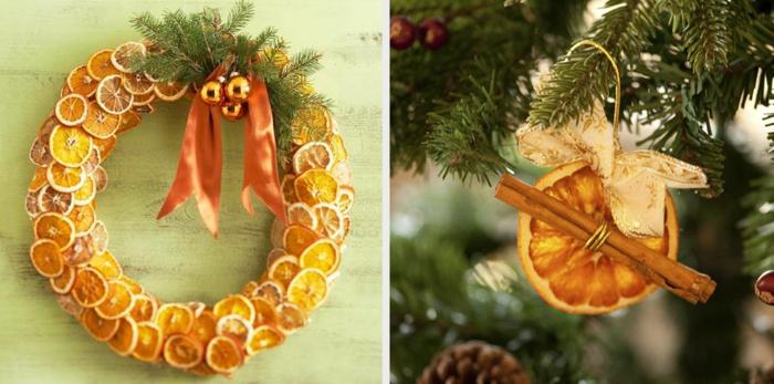 adornos navideños, elemento para la puerta, combinación naranja con canela