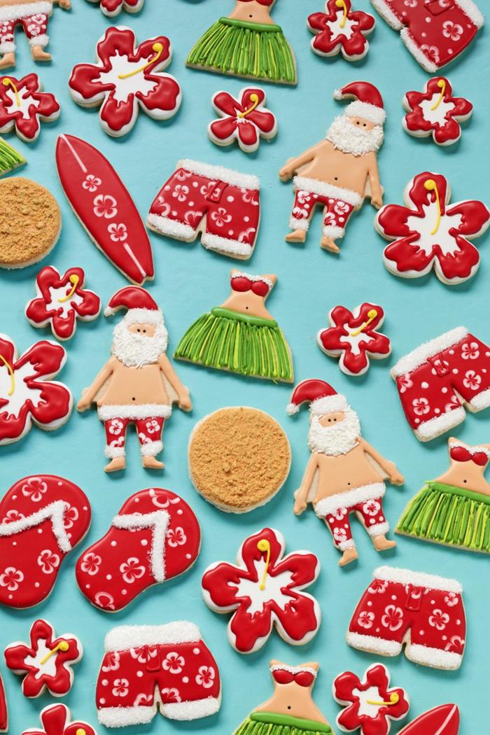 decoración de navidad, galletas estilo hawaiano, adorno original para navidad