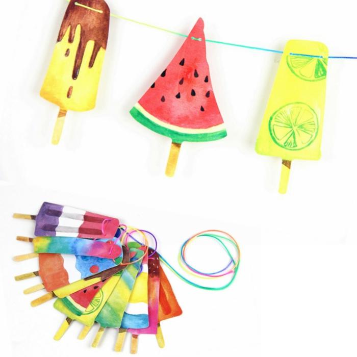 decoracion cumpleaños, guirnalda de helados multicolor