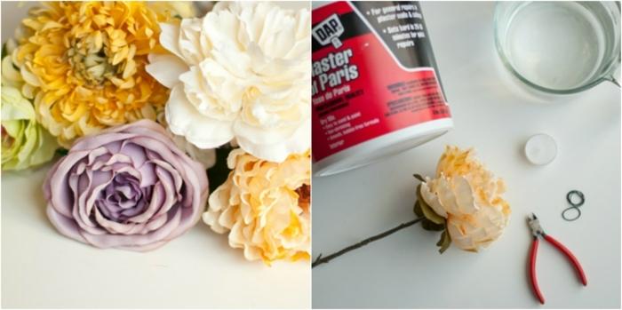 manualidades de papel, flores, contenedor de yeso, agua y vela