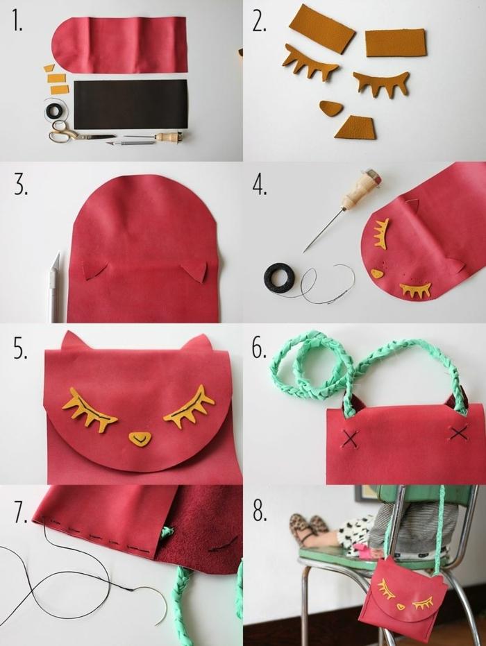 manualidades sencillas, instrucciones para hacer bolsa con cara en rojo y verde