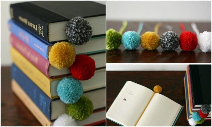 manualidades faciles, libros con separadores de lana multicolor