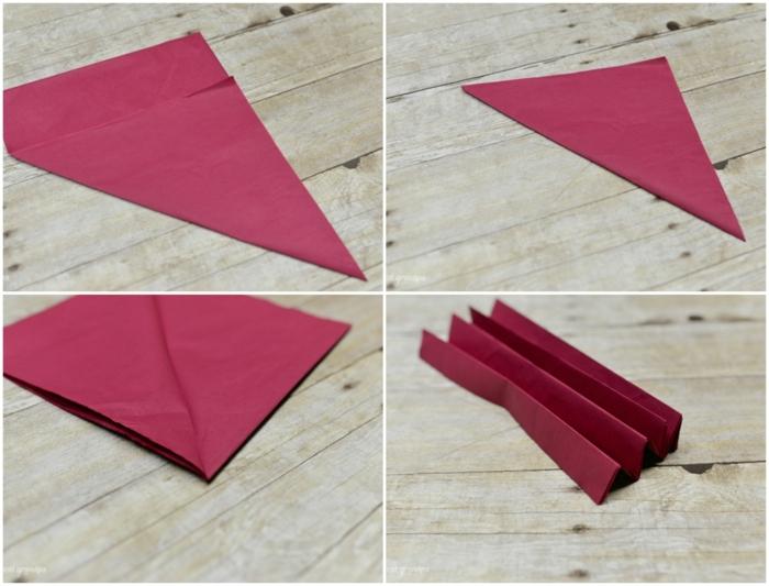 como hacer una rosa de papel, tutorial para doblas papel de seda y hacer flores