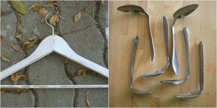 manualidades faciles, percha blanca, cucharas de metal dobladas