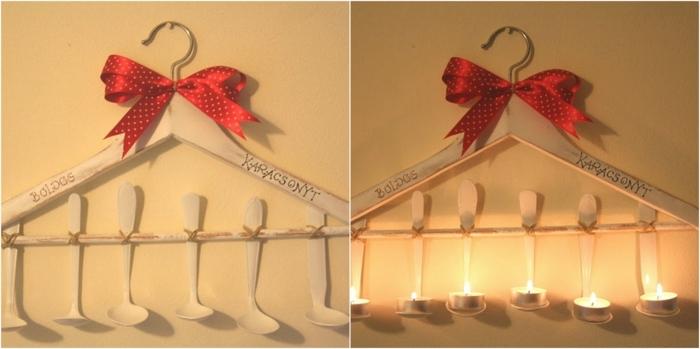 manualidades faciles de hacer, decoracion portavelas con percha blanca y cucharitas
