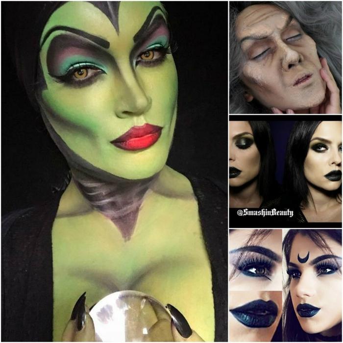 bruja halloween, diversas ideas para las damas, maquillajes fuertes, tonos oscuros, líneas exageradas