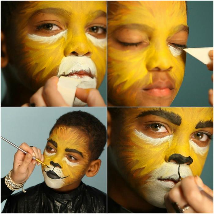 maquillaje halloween hombre, cómo maquillar un niño como león pasos