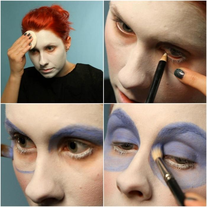 maquillaje novia cadaver, paso a paso maquillaje mujer con pintura blanca y lápiz delineador