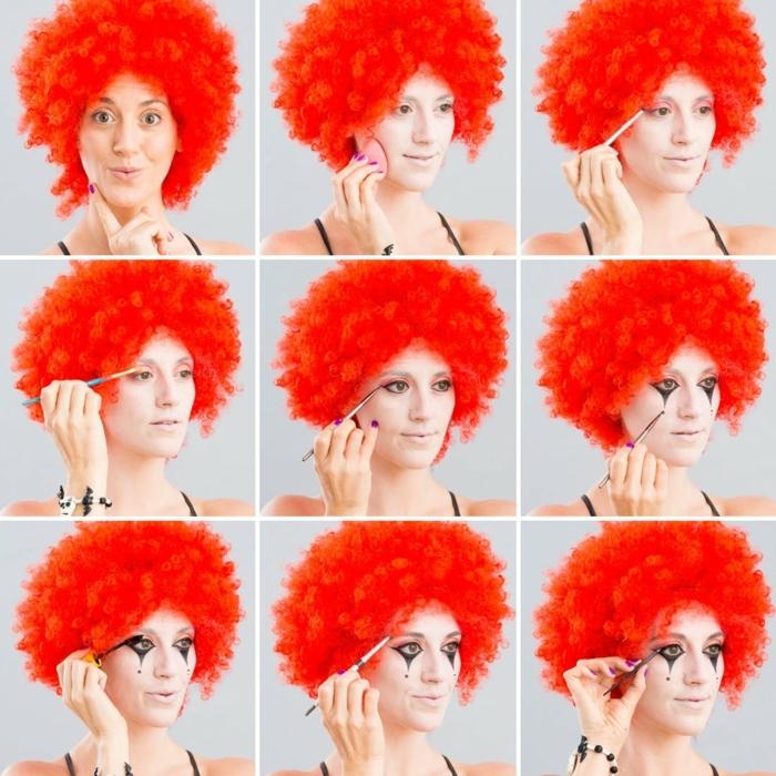 maquillaje para halloween, pasos para maquillar una mujer como payaso, peluca rizada roja