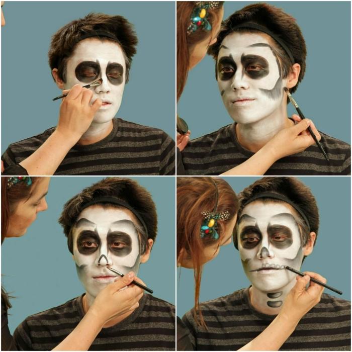 maquillaje para halloween, instrucciones como maquillar cara de calavera hombre
