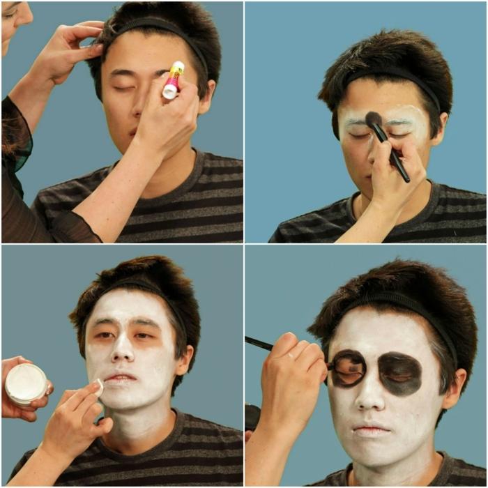 maquillaje para halloween, paso a paso maquillaje cara de craneo en blanco y negro