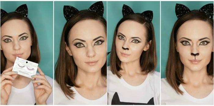 maquillaje vampiresa, mujer maquillada como gato con pestañas postizas y nariz negra