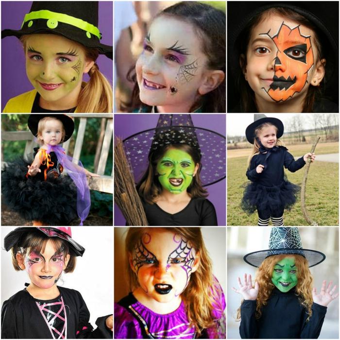 maquillaje bruja niña, ideas para disfrazar a tu pequeña, maquillajes fáciles y originales para niños