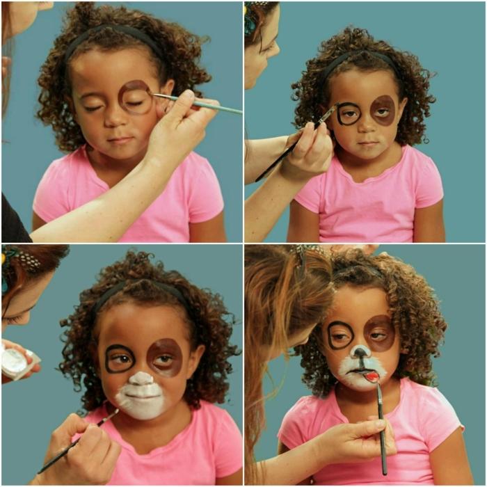 maquillaje para halloween, niña con blusa rosada, maquillaje de perrito