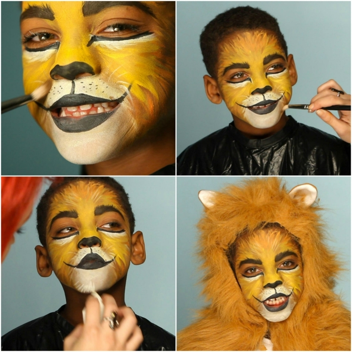 maquillaje halloween hombre, tutorial para maquillaje de leon niños