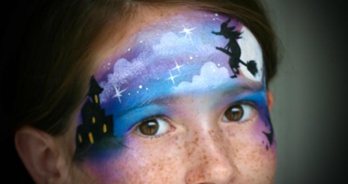 maquillaje bruja niña, idea de bonita decoración para niños, bruja decorada en la frente