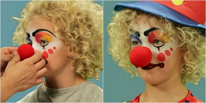 maquillaje vampiresa, niña rubia maquillada como payaso con nariz roja y gorrito