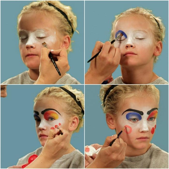 maquillaje vampiresa, tutorial sobre maquillar una niña rubia como payaso