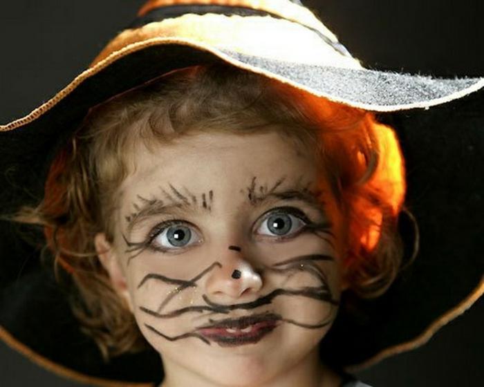maquillaje bruja niña, disfrace muy fácil y divertido, bigotes y cejas dibujados con lápiz negro
