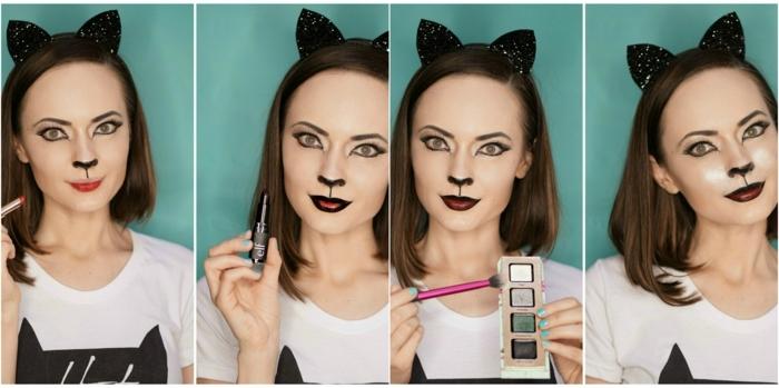 maquillaje para halloween, como maquillarse como gata, tutorial paso a paso mujer