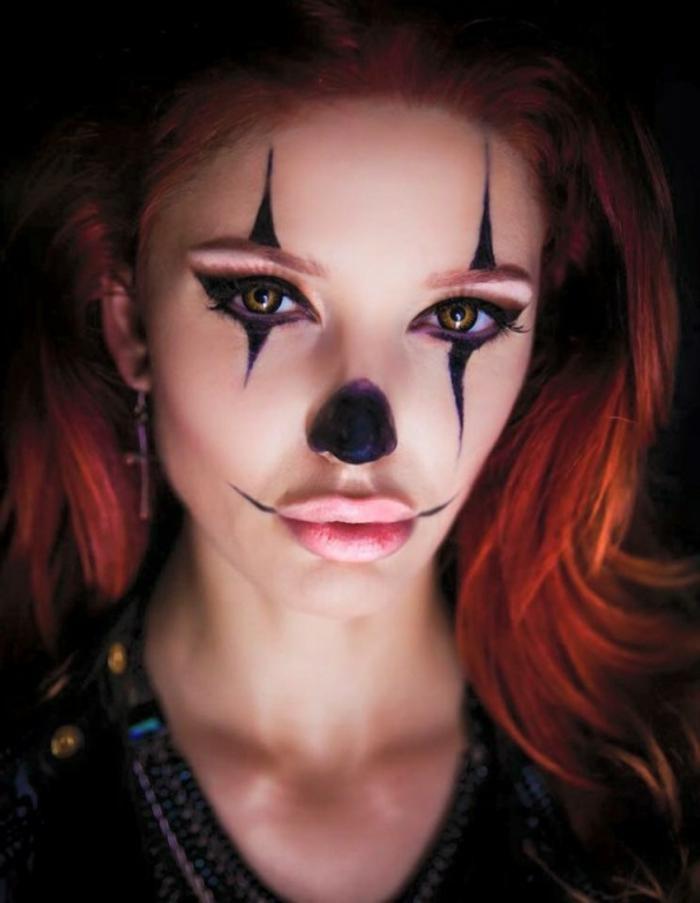 imágenes de brujas, cara de payaso dibujada con gel delineador, labios gruesos en color suave