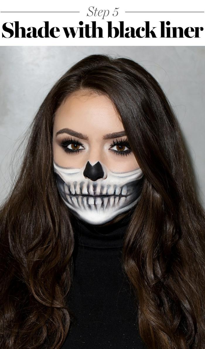 maquillaje novia cadaver, maquillaje Halloween para mujer con media cara calavera