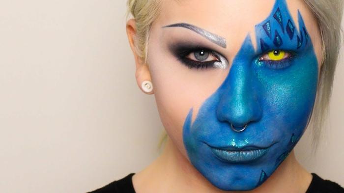 maquillaje halloween niños, maquillaje para mujer con media cara en azul metálico, pupila amarilla