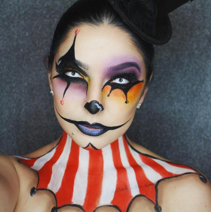 cheap maquillaje halloween maquillaje del joker para mujer con labios en negro y cuello pintado with como maquillarse para halloween - Como Maquillarse En Halloween