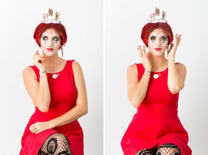 maquillaje novia cadaver, mujer con vestido rojo maquillada como reina de los corazones y gorro de naipes