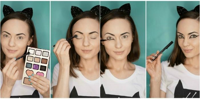 maquillaje halloween niños, mujer maquillada como gato, tutorial paso a paso