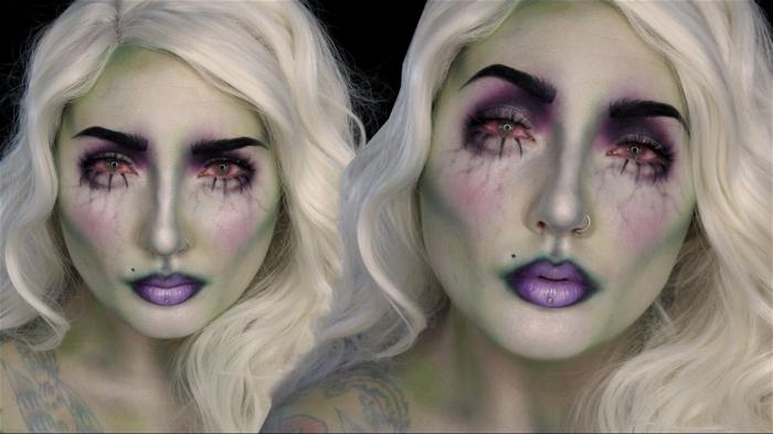 maquillaje para halloween, idea original para mujeres rubias, piel efecto transparente, cejas muy marcadas y gruesas