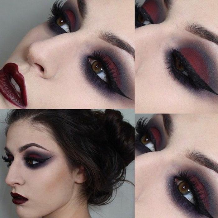 imágenes de brujas, maquillaje fácil de hacer con mucho estilo, pelo recogido en moño, mirada dramática
