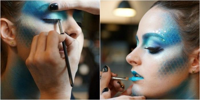 maquillaje halloween, mujer maquillada de sirenita en azul y aguamarina