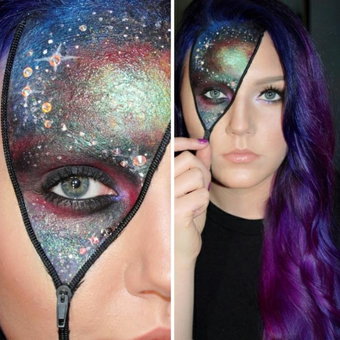 maquillaje halloween hombre, mujer con pelo en púrpura, un ojo con cremallera y maquillaje de galaxia