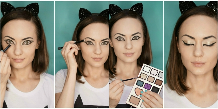 maquillaje halloween niños, como maquillarse como gata con orejas, delineador y sombras para ojos
