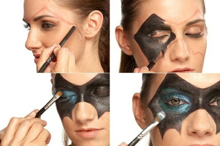 maquillaje zombie, como maquillarse con máscara de murciélago brillante