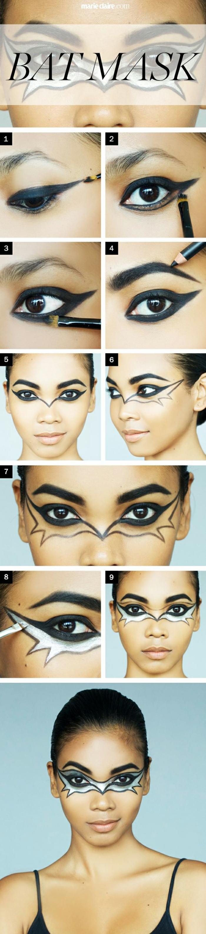 maquillaje zombie, paso a paso maquillaje con máscara de murciélago en negro y blanco