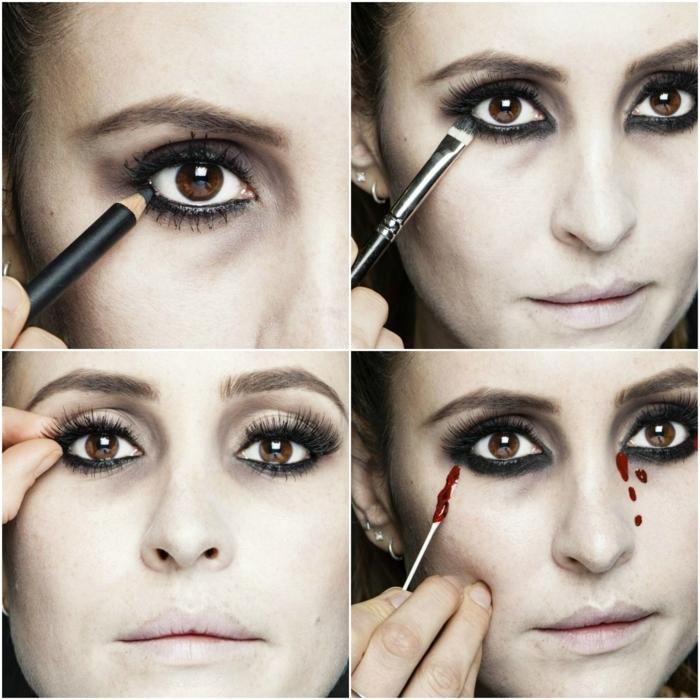 maquillaje vampiresa, tutorial para maquillarse con lágrimas de sangre
