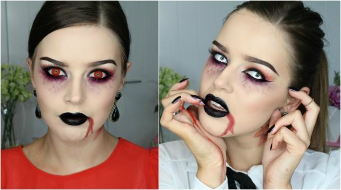 maquillaje para halloween, maquillaje de zombie para mujer con ojos rojos y sangre saliendo de la boca
