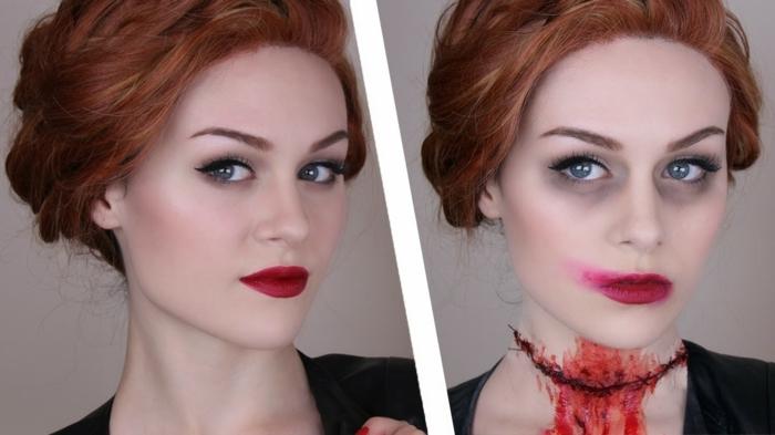 maquillaje vampiresa, mujer maquillada para halloween con cuello cortado sangriente