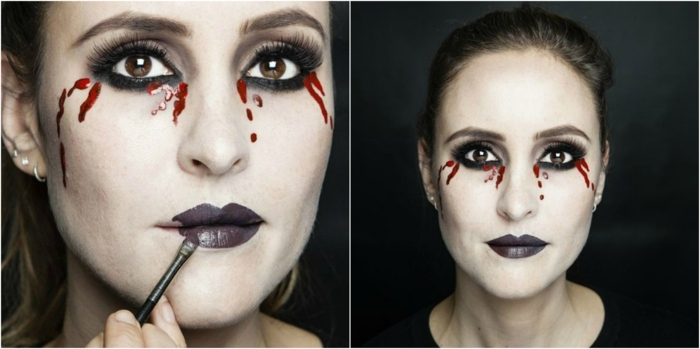 maquillaje novia cadaver, mujer se maquilla con labios carmín y sangre de los ojos