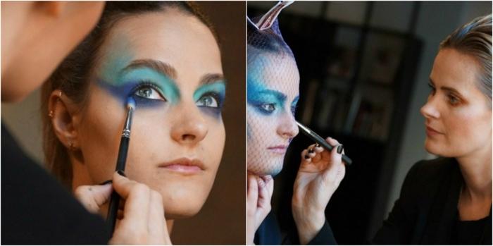 maquillaje halloween, pasos para maquillar una mujer como sirenita, sombras para ojos verdes azules