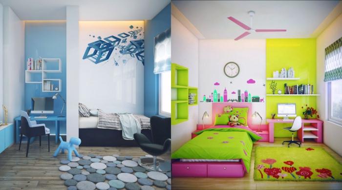 habitacions infantiles, habitaciones en azul y verde con cama, escritorio y tapete