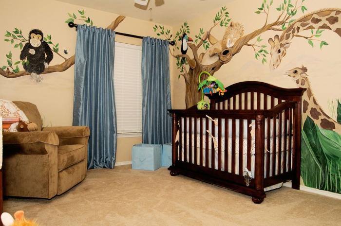 habitaciones infantiles, habitación bebé, litera madera oscura, cortina azules, vinilo con girafas y mono